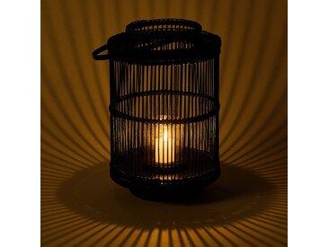Lanterne en rotin noir D24xH53cm - alinea