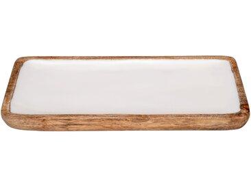 Plateau en manguier et résine blanche L36cm - alinea