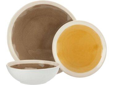 Lot de 6 assiette plate en grès - marron et blanc d27,5xh2,5cm (prix unitaire : 8.0 euros) - alinea