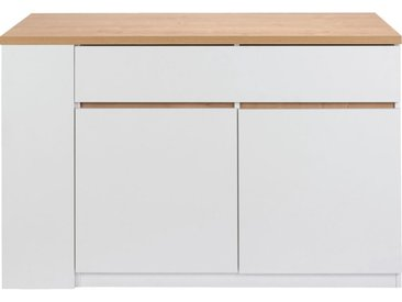 Ilot central de cuisine en bois L137cm - blanc - alinea