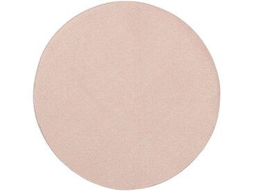 Tapis rond imitation fourrure rose argile - Plusieurs tailles Alinéa