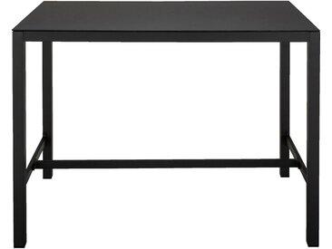 Table haute en acier et verre trempé - noir 6 personnes - alinea