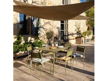 Table de jardin pliante en acier vert kaki (4 à 6 places) - alinea