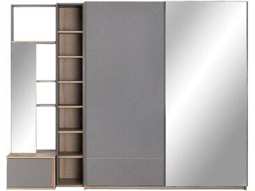 Module Armoire Avec 1 Porte Miroir Et 1 Tiroir Effet Chêne - Gris - alinea