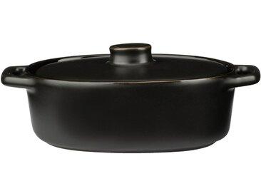 Lot de 2 minis cocotte ovale en grès noir 16cm (prix unitaire : 8.0 euros) - alinea