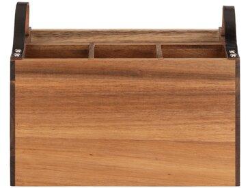 Range couverts en bois d'acacia avec poignées en cuir Alinéa
