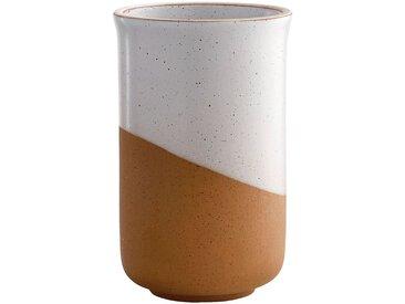 Vase en faïence blanc et marron H15cm Alinéa