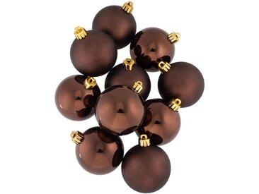 10 boules de Noël en plastique chocolat D6cm - alinea