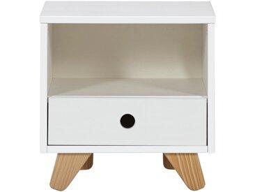 Table de chevet enfant en pin massif 1 tiroir et 1 niche Blanc Alinéa