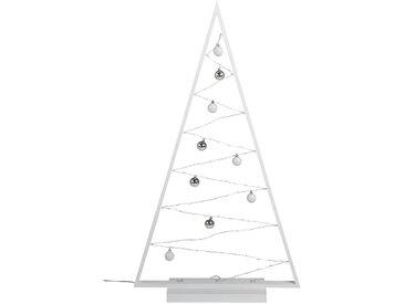 Arbre en bois blanc lumineux 85 micro led H115cm - alinea