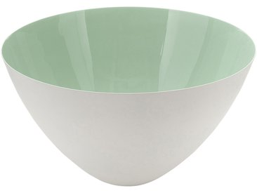 Saladier en métal blanc et vert D29,5cm - alinea