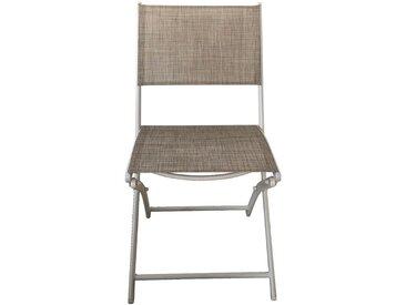 Chaise de jardin pliante gris clair en polyester Alinéa