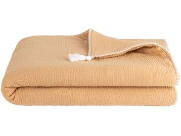 Plaid en gaze de coton 100x150 cm - Beige nèfle - alinea