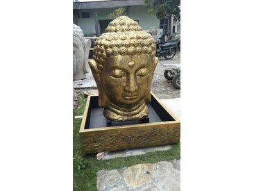 Fontaine de jardin tête de Bouddha 1 m 30 doré