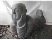 Statue de jardin moine souriant en pierre 100 cm