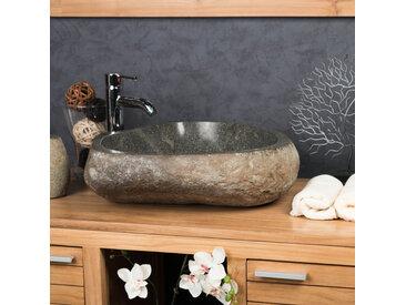 Grande Vasque en pierre naturelle GALET DE RIVIERE 50