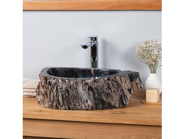 Vasque de salle de bain à poser en bois fossilisé noire