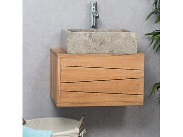 Meuble salle de bain suspendu en teck cosy 50cm