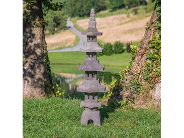 Lanterne japonaise pagode en pierre de lave 1.30 m
