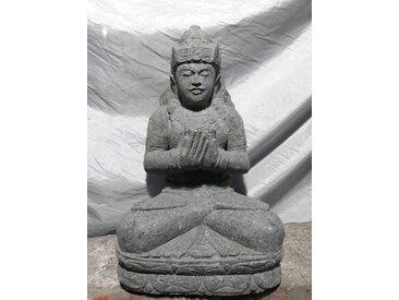 Statue jardin en pierre naturelle déesse assise fleur 50 cm