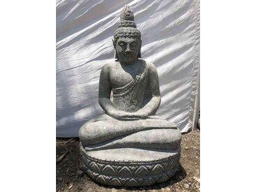 Statue jardin zen bouddha sukothai assis en pierre volcanique offrande 80 cm