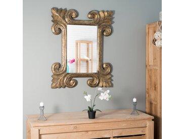 Miroir Tolède en bois patiné or doré 80 X 100