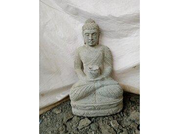 Statue de jardin zen bouddha pierre offrande bol 50 cm