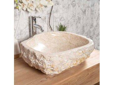 Grande Vasque de salle de bain à poser ROC en marbre crème 45-55 cm