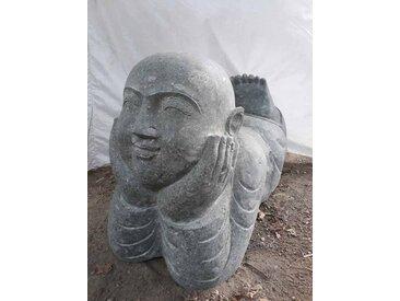 Statue de jardin moine allongé en pierre 1m