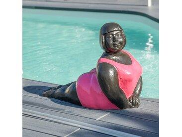 Statue contemporaine Femme ronde position yoga Fuschia