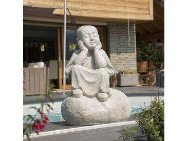 Statue moine Shaolin pensif gris clair 80 cm