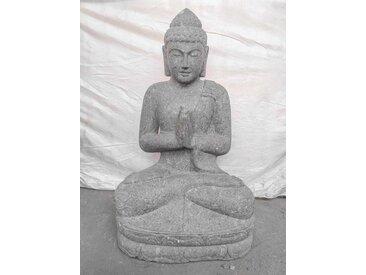 Statue jardin zen bouddha pierre volcanique position prière 120 cm