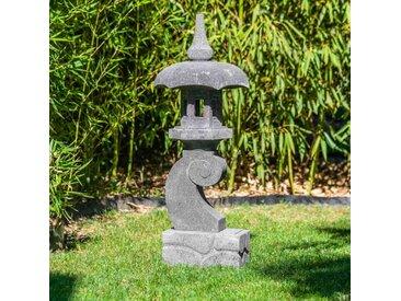 Lanterne japonaise pagode zen en pierre de lave 90 cm