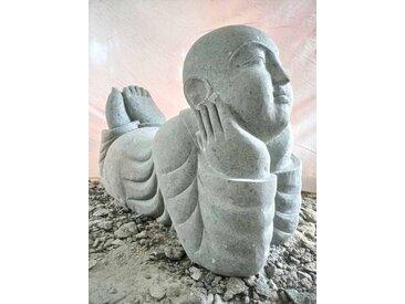Statue de jardin moine souriant pierre de 100 cm
