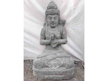 Statue jardin en pierre naturelle déesse dewi assise 80cm