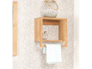 porte serviette étagère murale en teck Chloé
