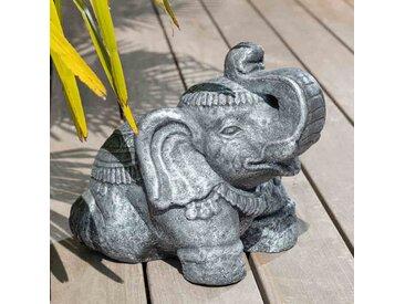 Statue Eléphant assis 40cm gris antique