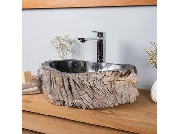 Lavabo de salle de bain en bois pétrifié fossilisé NOIR