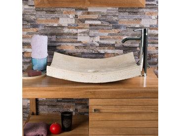 Vasque à poser rectangle 50cm en pierre marbre GENES crème