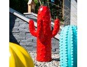 Sculpture jardin moderne cactus 50cm rouge