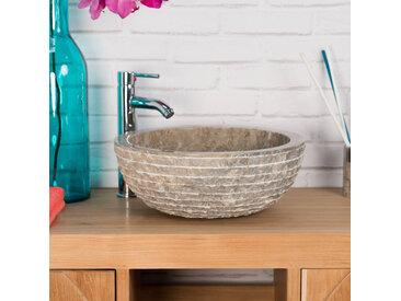 Vasque en pierre de salle de bain VESUVE gris taupe 40cm