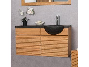 Meuble salle de bain suspendu avec vasque teck 100 CONTEMPORAIN noir