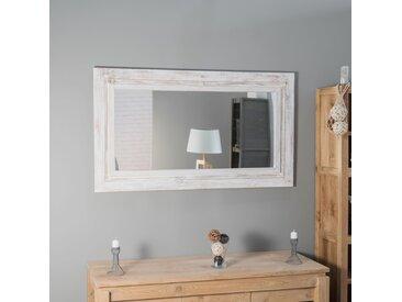 Miroir Venise en bois patiné Cérusé blanc 140cm X 80cm