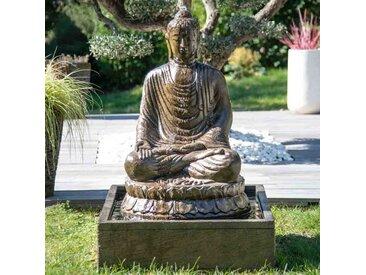Fontaine de jardin bouddha assis 1 m 20 patiné