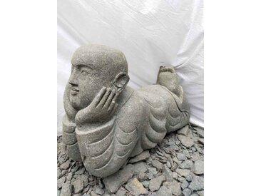 Statue de jardin moine couché en pierre 1m