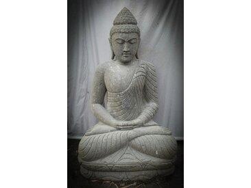 Statue de jardin zen Bouddha en pierre volcanique position offrande 1,20 m