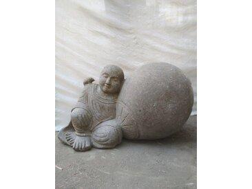 Statue en pierre de jardin zen moine shaolin 1 m
