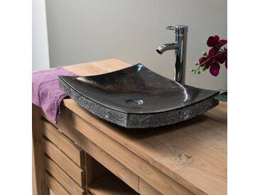 Vasque de salle de bain à poser rectangle 50 cm en pierre marbre GENES noir