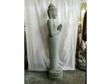 Statue de jardin en pierre Bouddha debout prière de 2 m