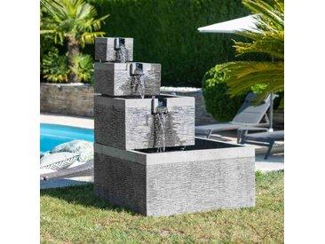 Fontaine de jardin bassin carré 4 coupes noir gris